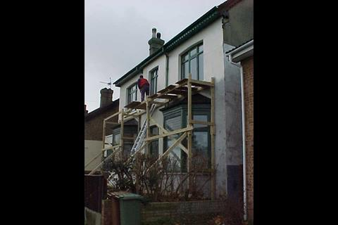 Unsafe timber scaffolding